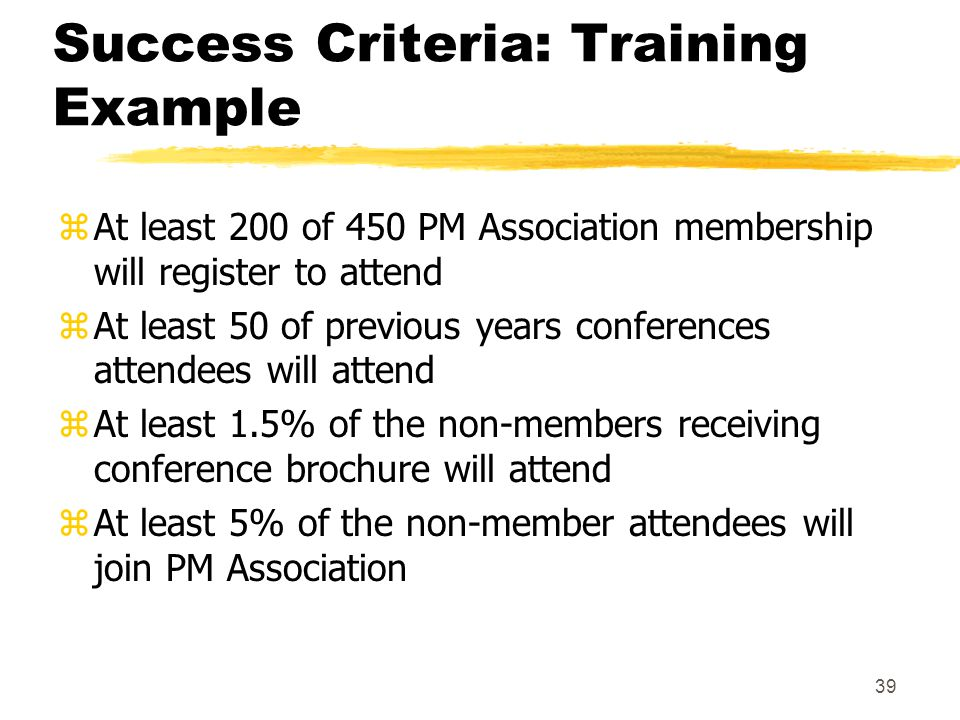 Success Criteria: Training Example