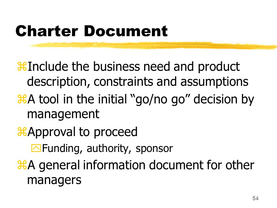 Charter Document Include the business need and product description, constraints and assumptions.
