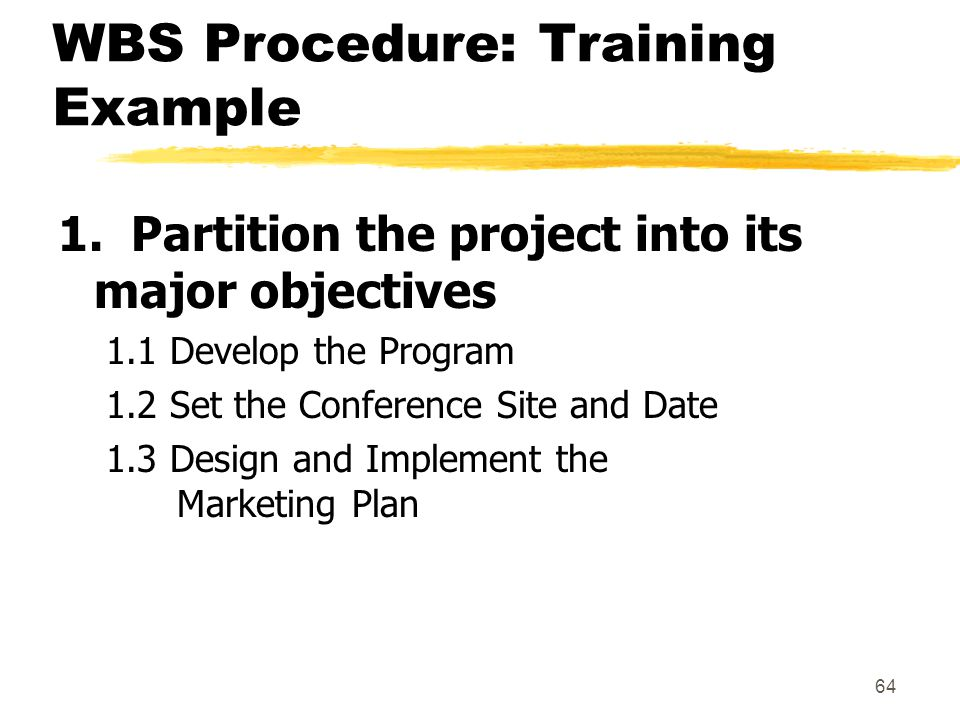 WBS Procedure: Training Example
