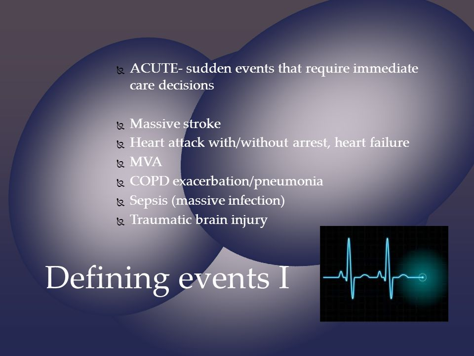 ACUTE- sudden events that require immediate care decisions