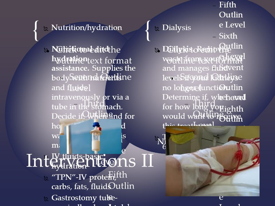 Interventions II Nutrition/hydration Dialysis