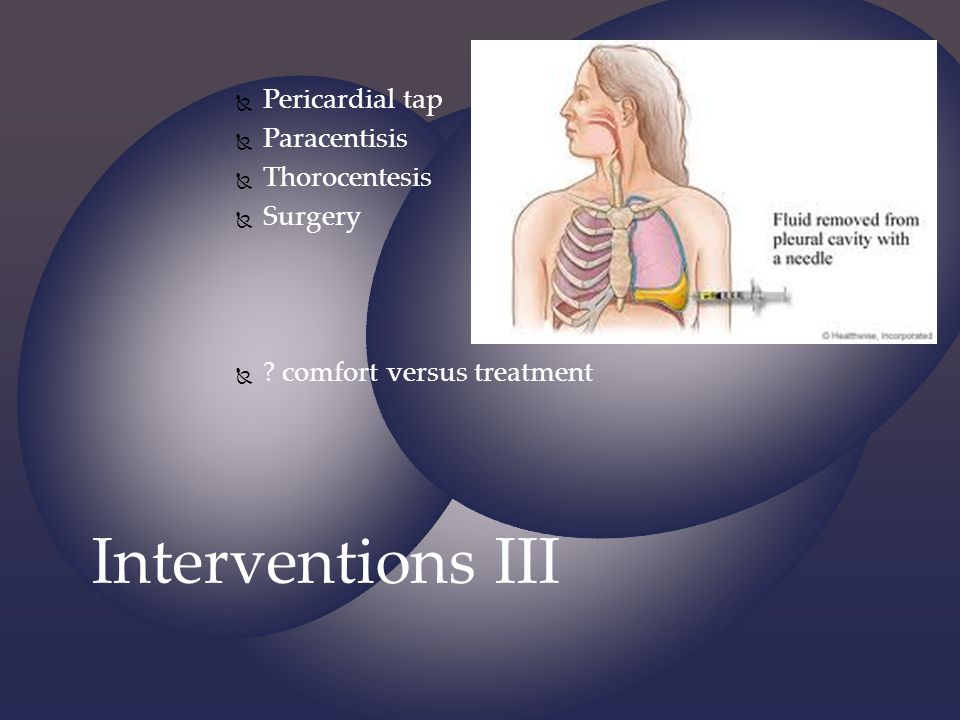 Interventions III Pericardial tap Paracentisis Thorocentesis Surgery