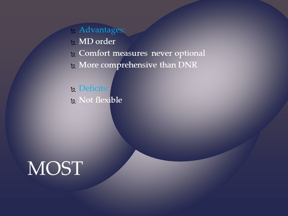 MOST Advantages: MD order Comfort measures never optional