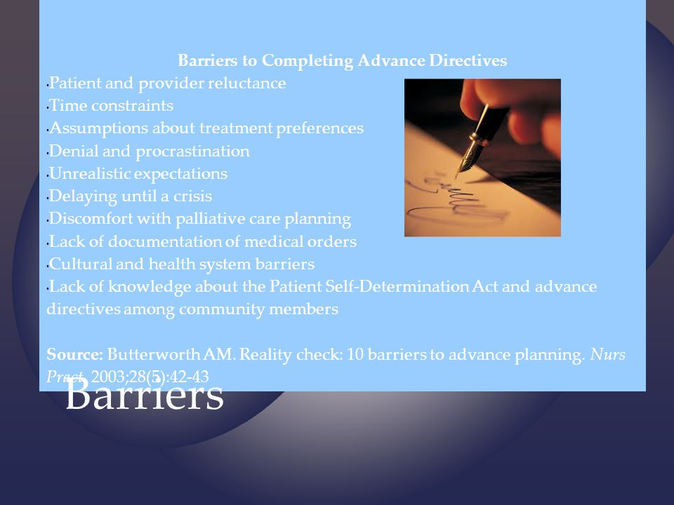 Barriers to Completing Advance Directives