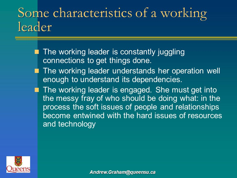 Some characteristics of a working leader
