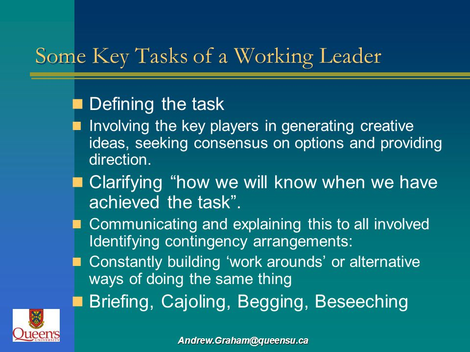 Some Key Tasks of a Working Leader