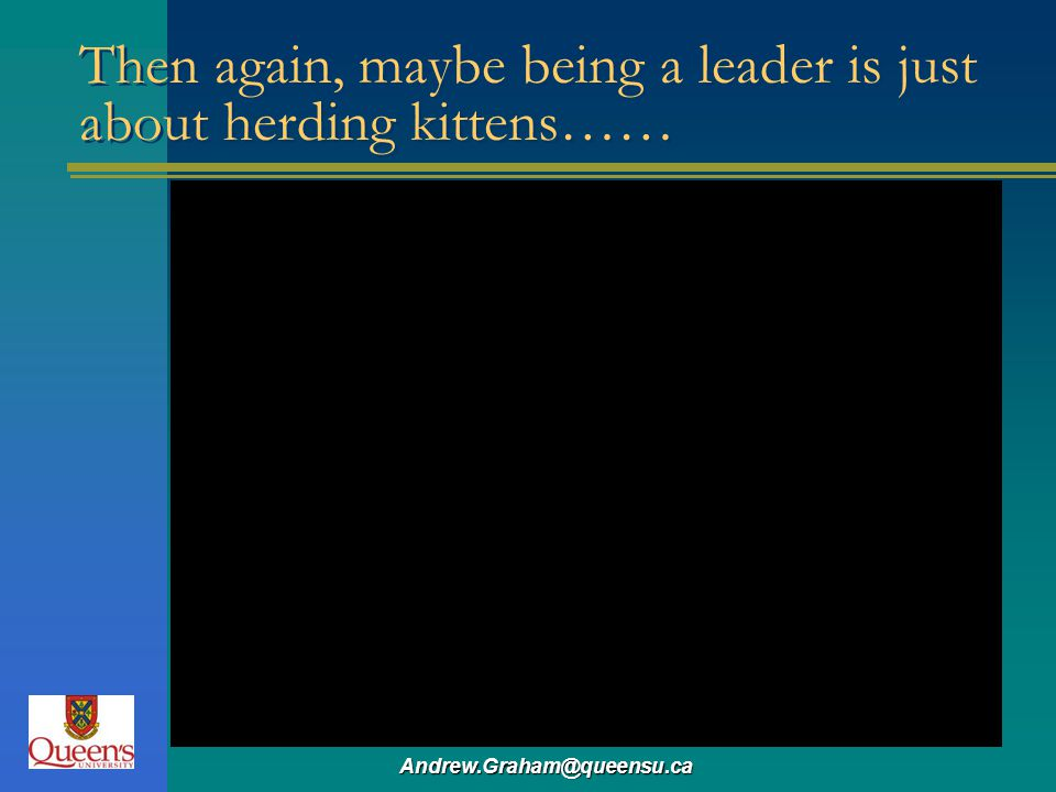 Then again, maybe being a leader is just about herding kittens……