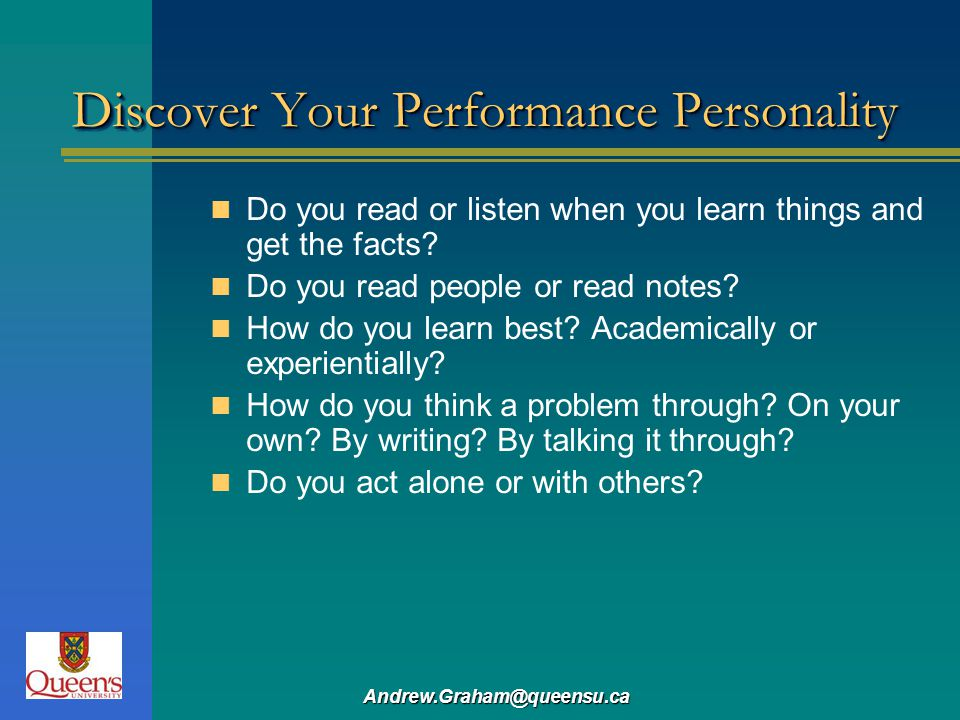 Discover Your Performance Personality