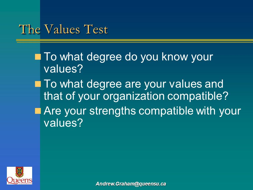 The Values Test To what degree do you know your values