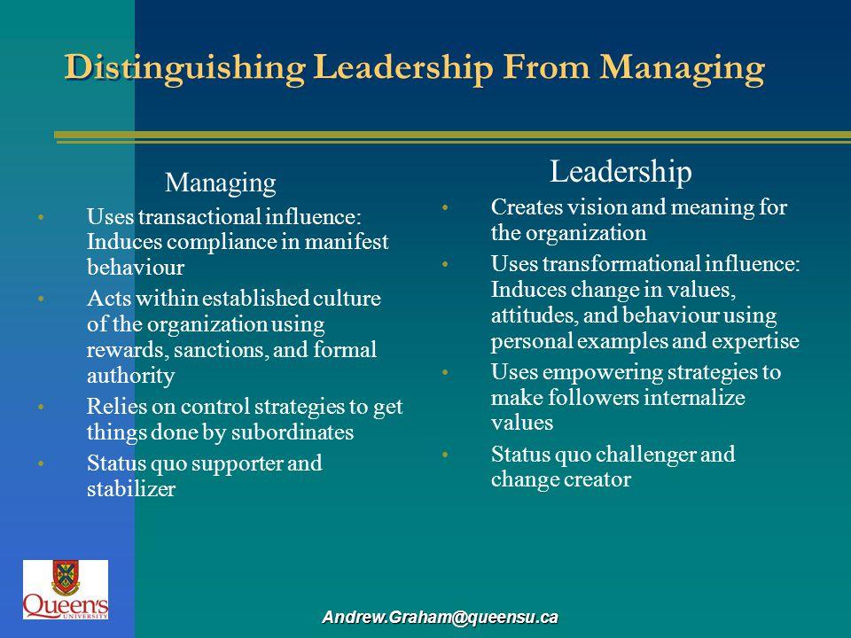Distinguishing Leadership From Managing