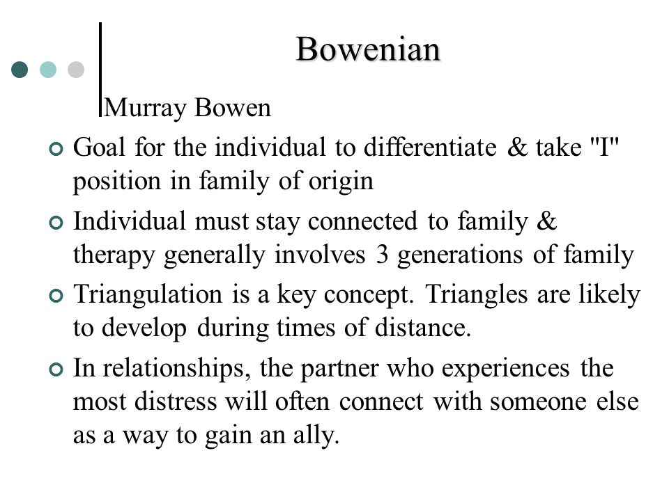Bowenian Murray Bowen. Goal for the individual to differentiate & take I position in family of origin.