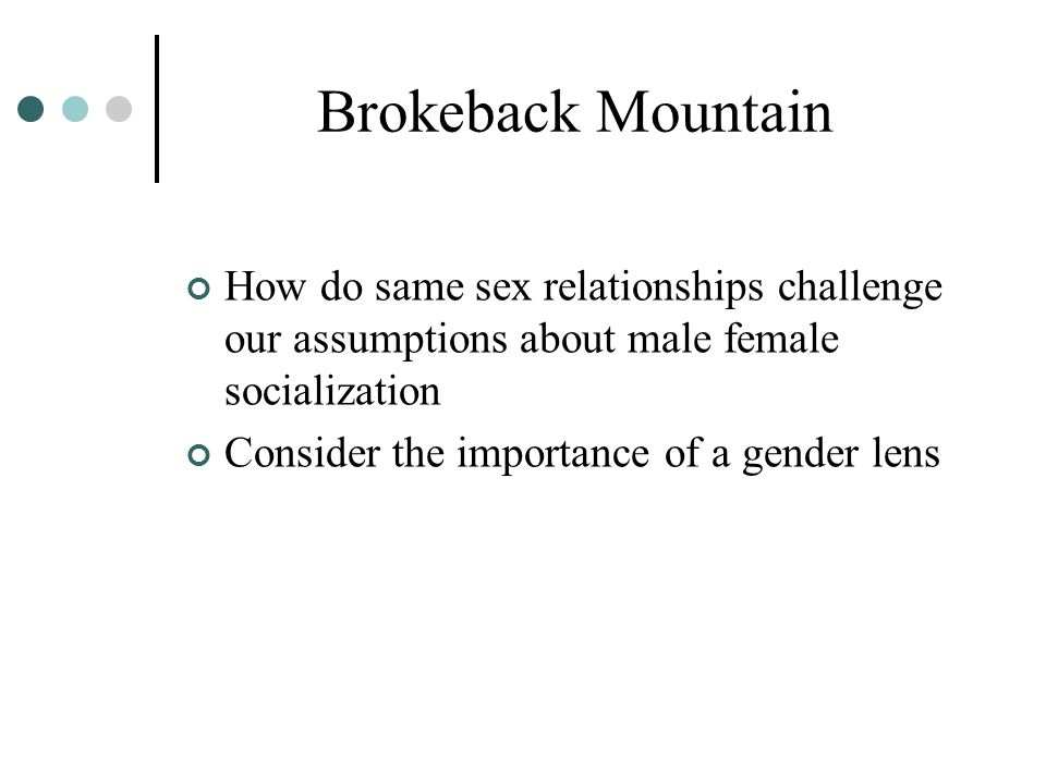 Brokeback Mountain How do same sex relationships challenge our assumptions about male female socialization.