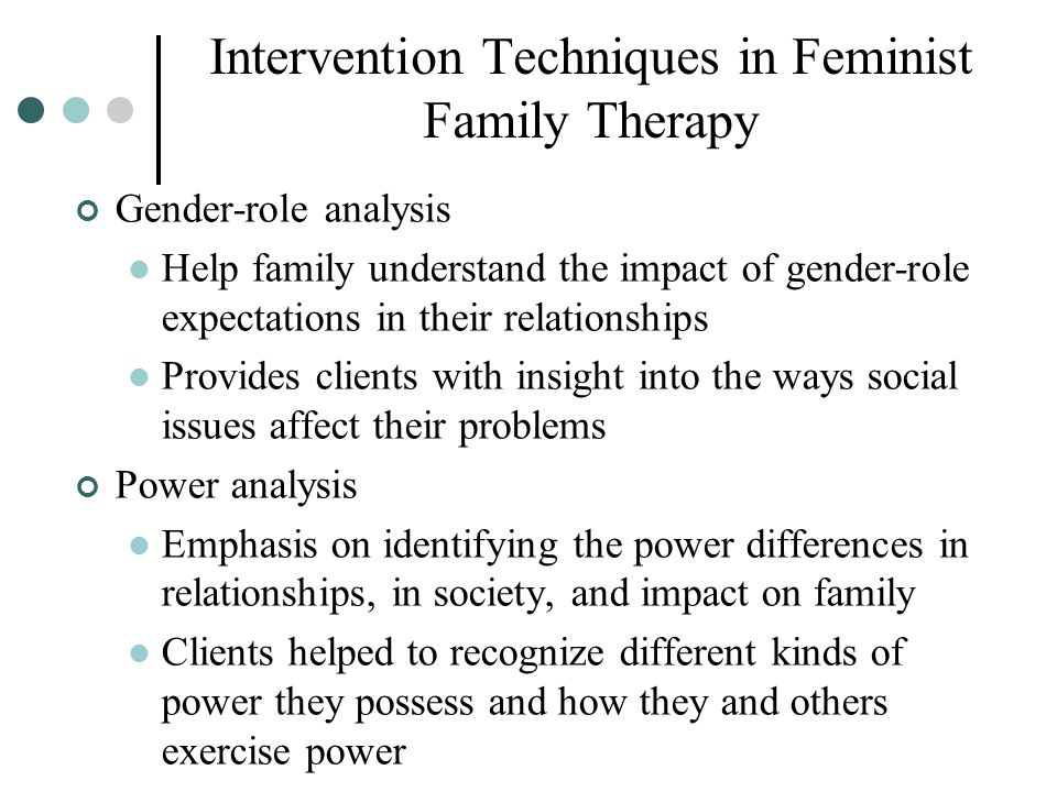 Intervention Techniques in Feminist Family Therapy