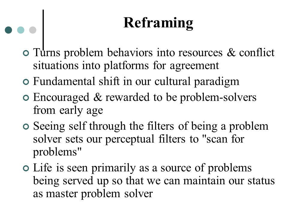 Reframing Turns problem behaviors into resources & conflict situations into platforms for agreement.