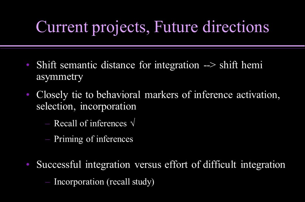 Current projects, Future directions