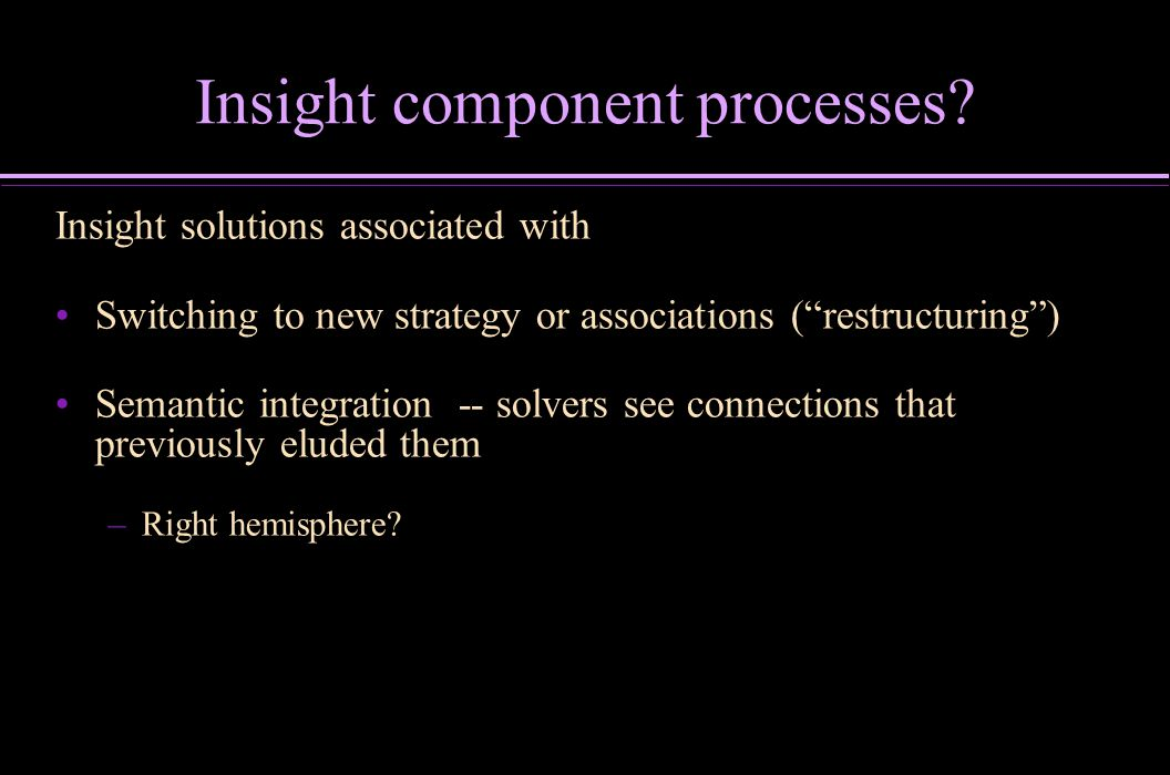Insight component processes