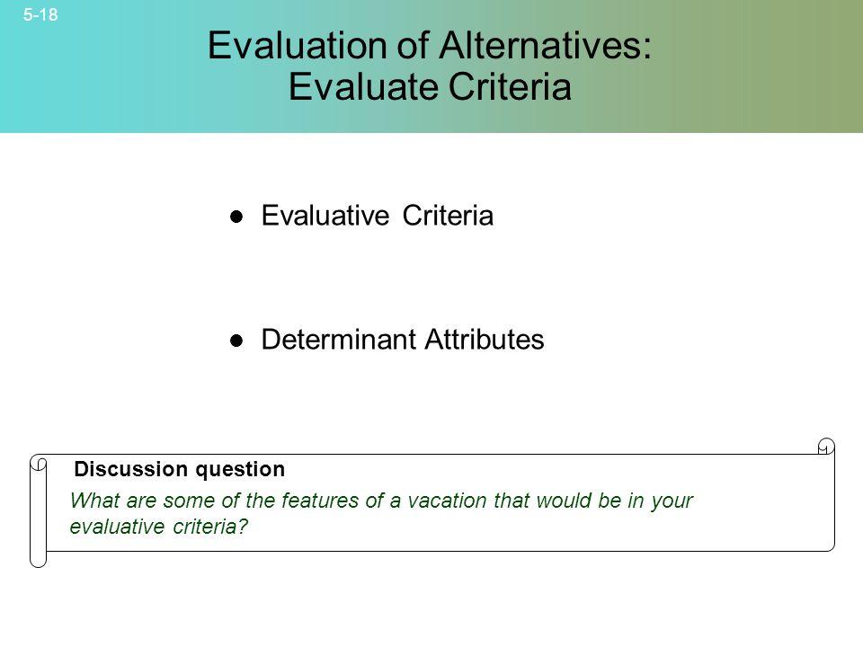 Evaluation of Alternatives: Evaluate Criteria