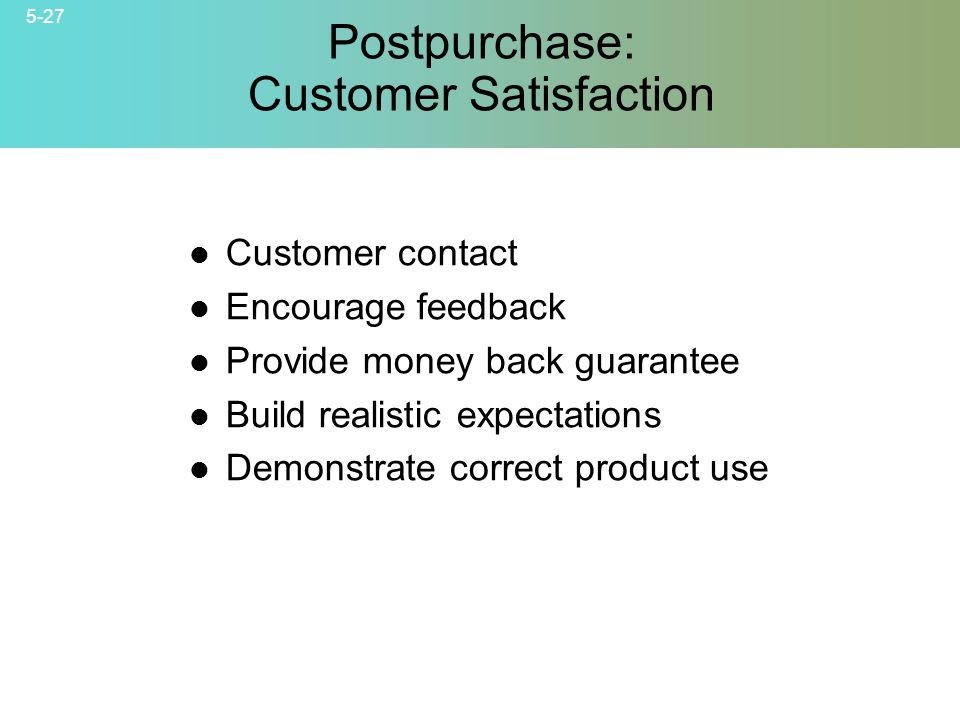 Postpurchase: Customer Satisfaction