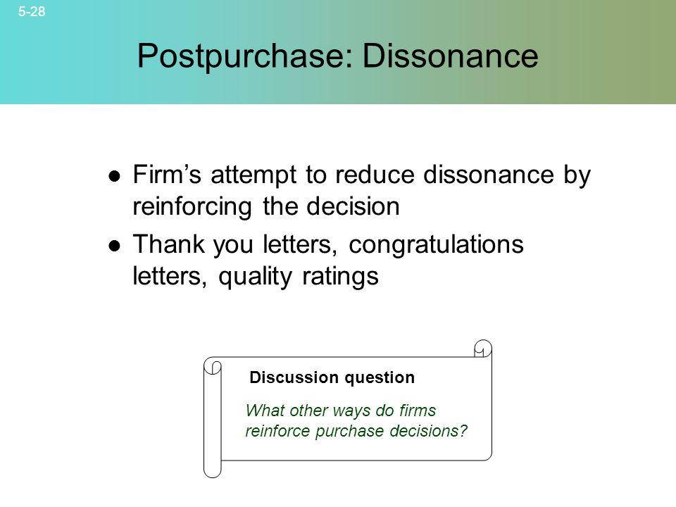 Postpurchase: Dissonance