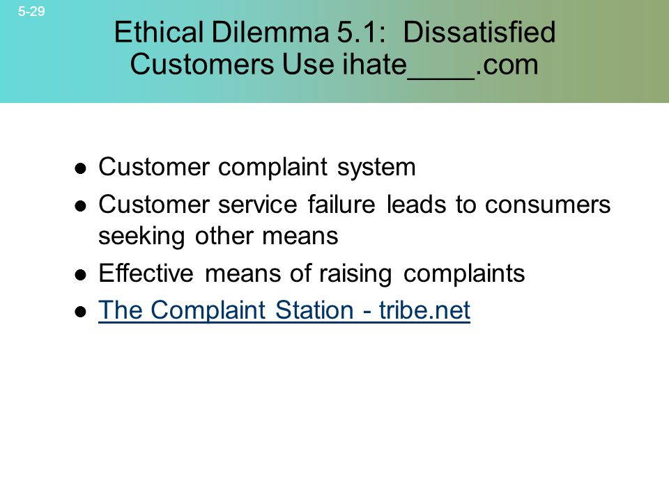 Ethical Dilemma 5.1: Dissatisfied Customers Use ihate____.com