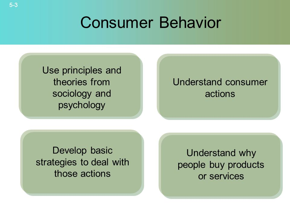 Consumer Behavior Use principles and theories from sociology and psychology. Understand consumer actions.