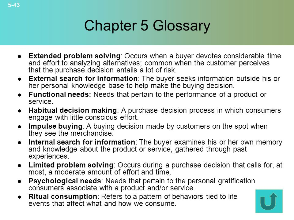 Chapter 5 Glossary