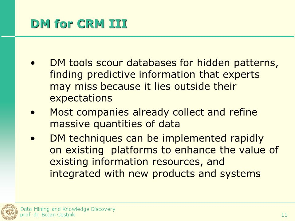 DM for CRM III