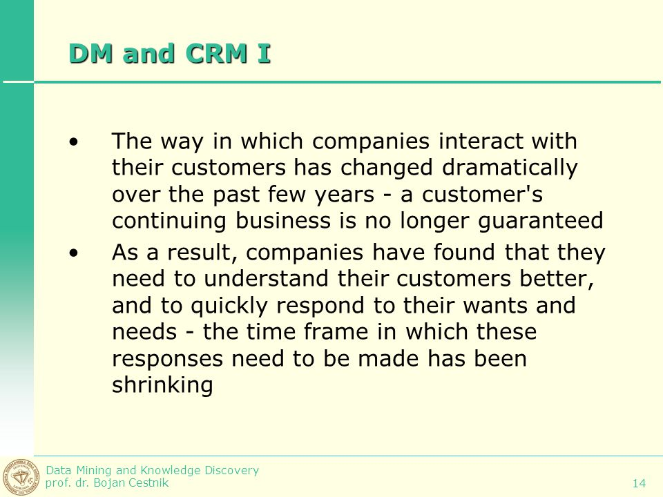 DM and CRM I