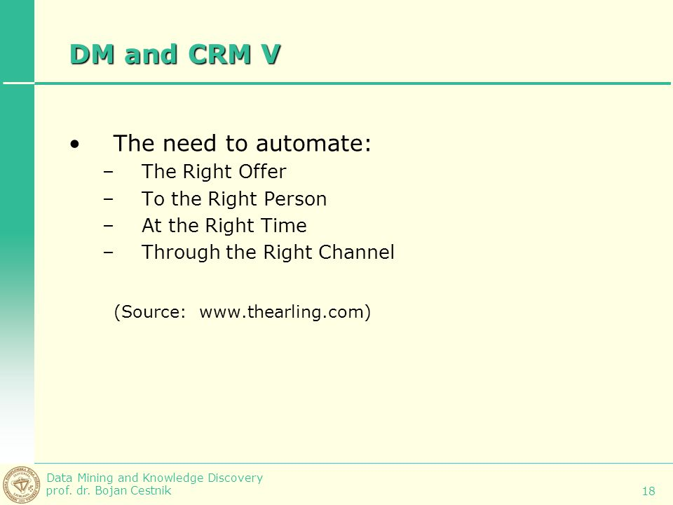 DM and CRM V The need to automate: (Source: www.thearling.com)