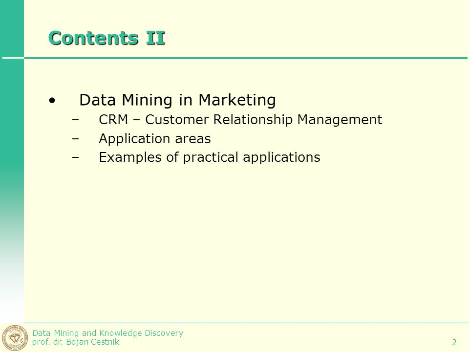 Contents II Data Mining in Marketing