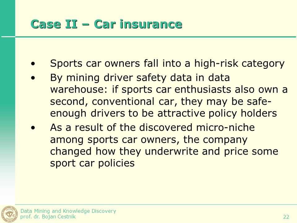 Case II – Car insurance Sports car owners fall into a high-risk category.
