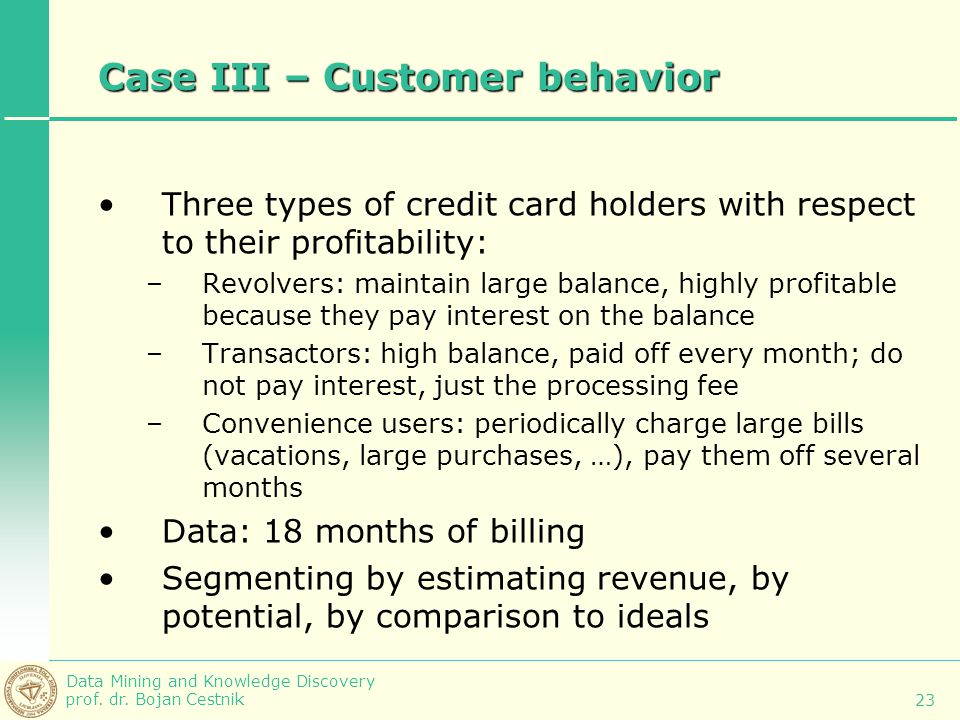 Case III – Customer behavior