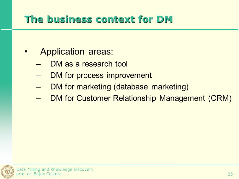 The business context for DM