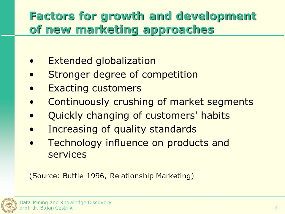 Factors for growth and development of new marketing approaches