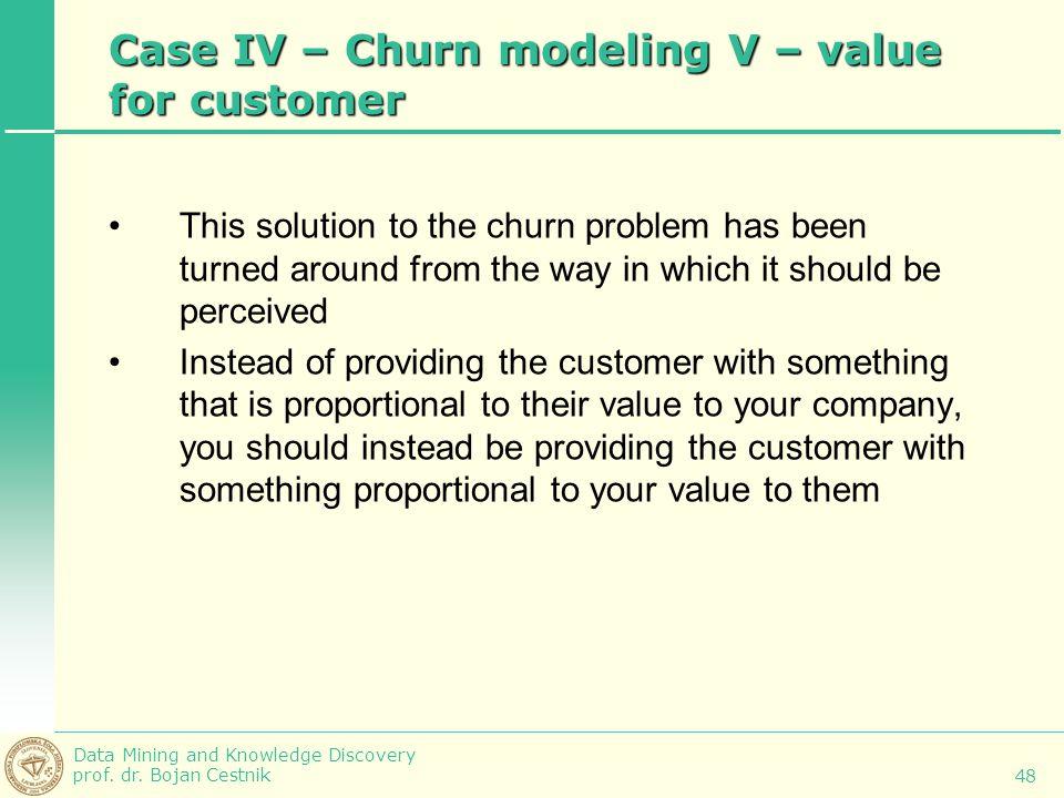 Case IV – Churn modeling V – value for customer