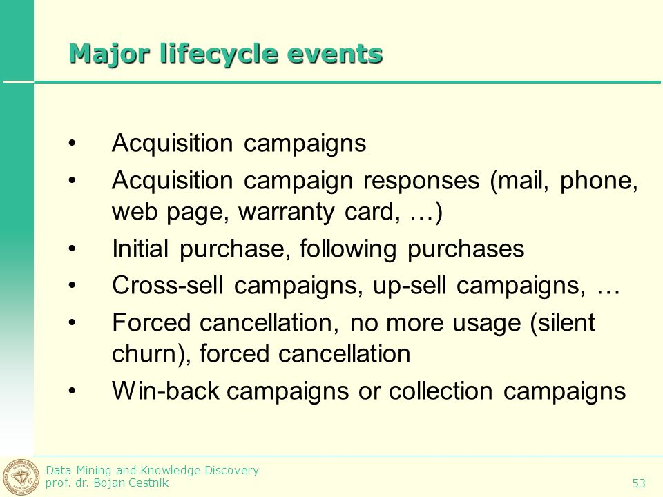 Major lifecycle events