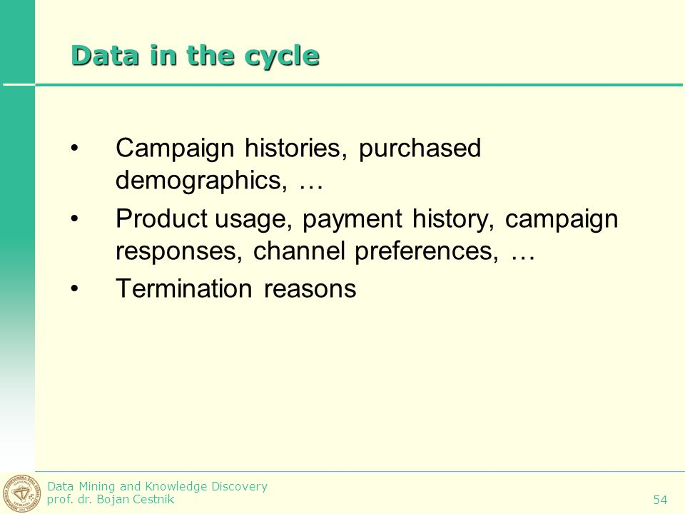 Data in the cycle Campaign histories, purchased demographics, … Product usage, payment history, campaign responses, channel preferences, …