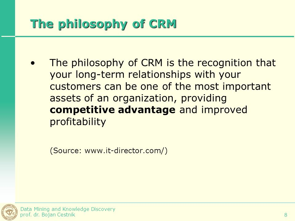 The philosophy of CRM