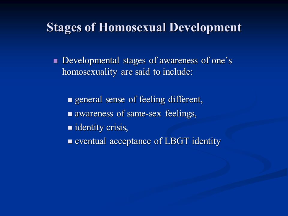 Stages of Homosexual Development