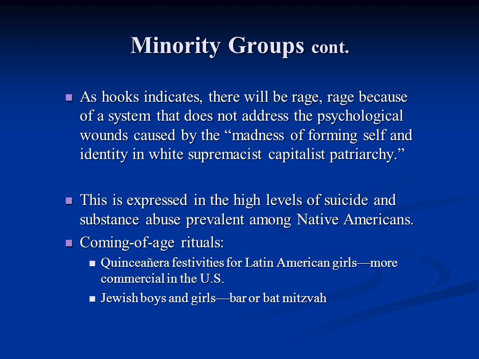 Minority Groups cont.
