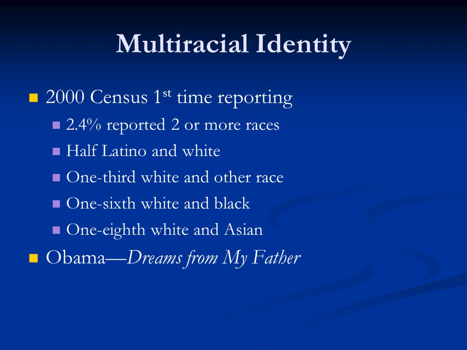 Multiracial Identity 2000 Census 1st time reporting