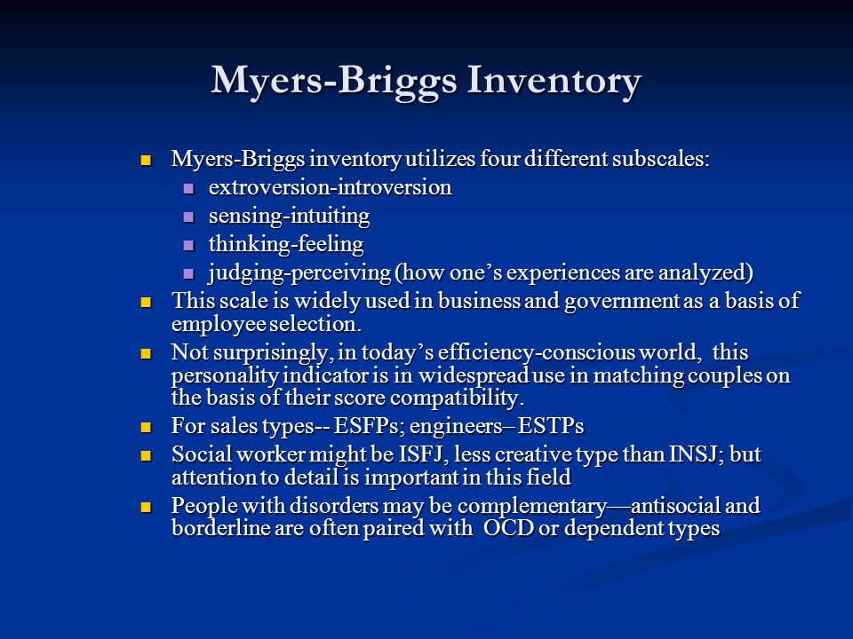 Myers-Briggs Inventory