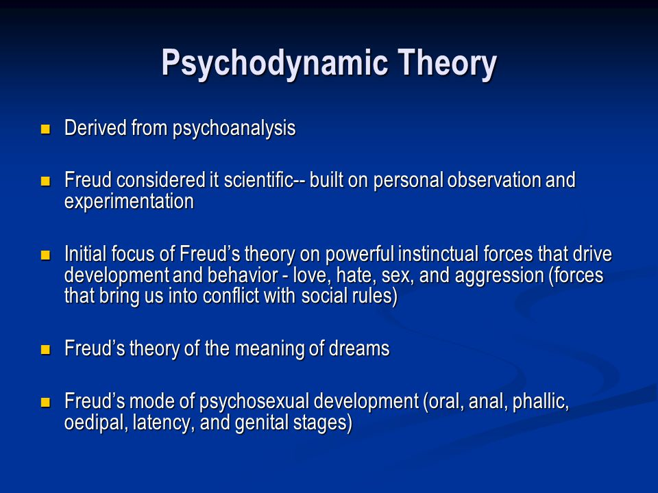 Psychodynamic Theory Derived from psychoanalysis
