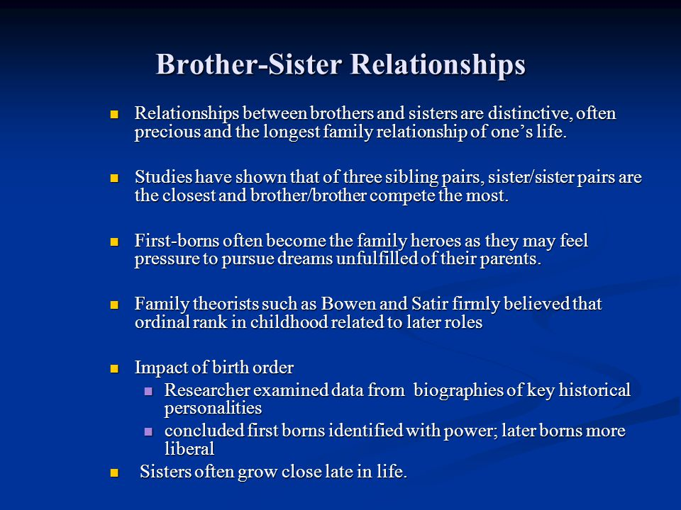 Brother-Sister Relationships