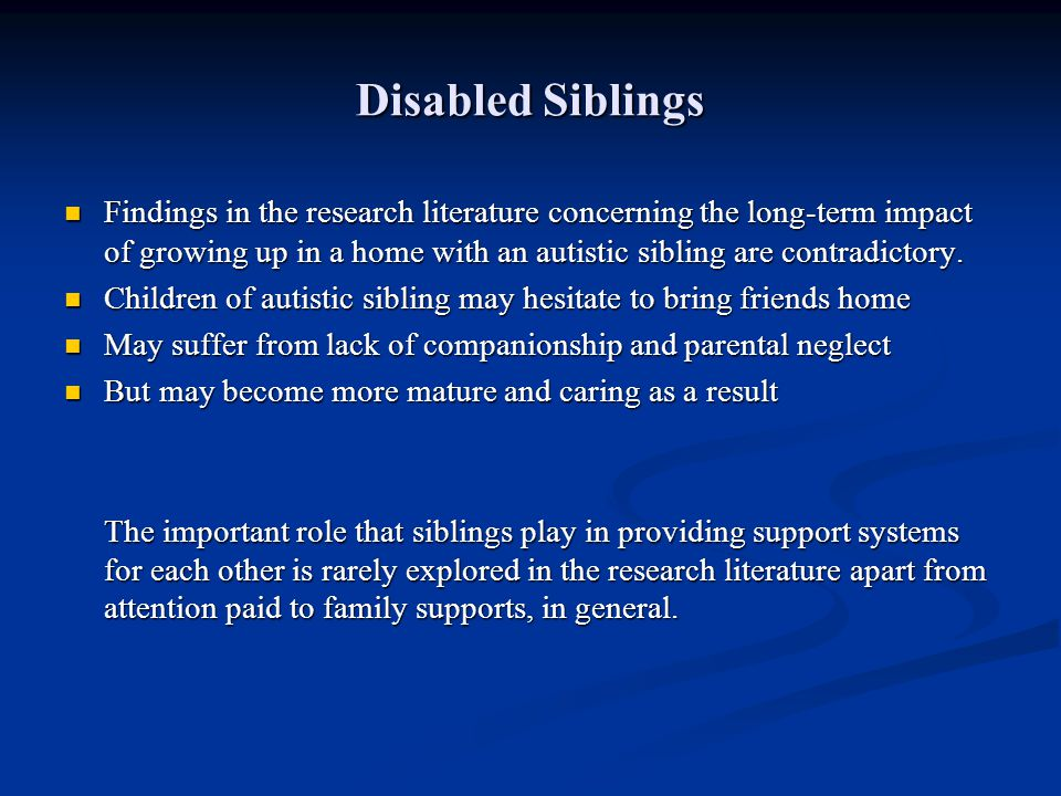 Disabled Siblings