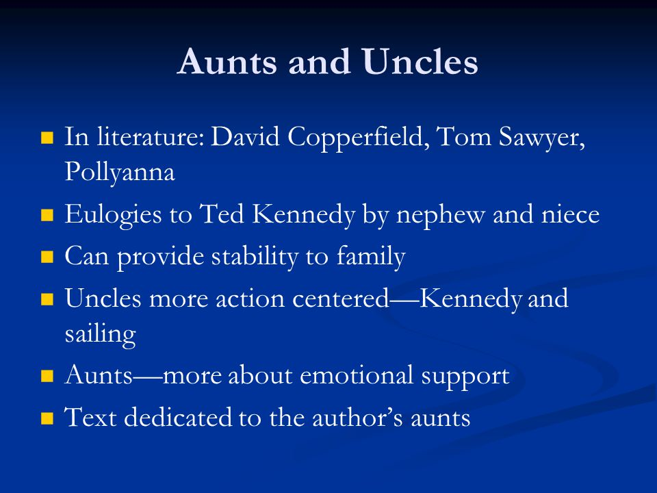 Aunts and Uncles In literature: David Copperfield, Tom Sawyer, Pollyanna. Eulogies to Ted Kennedy by nephew and niece.