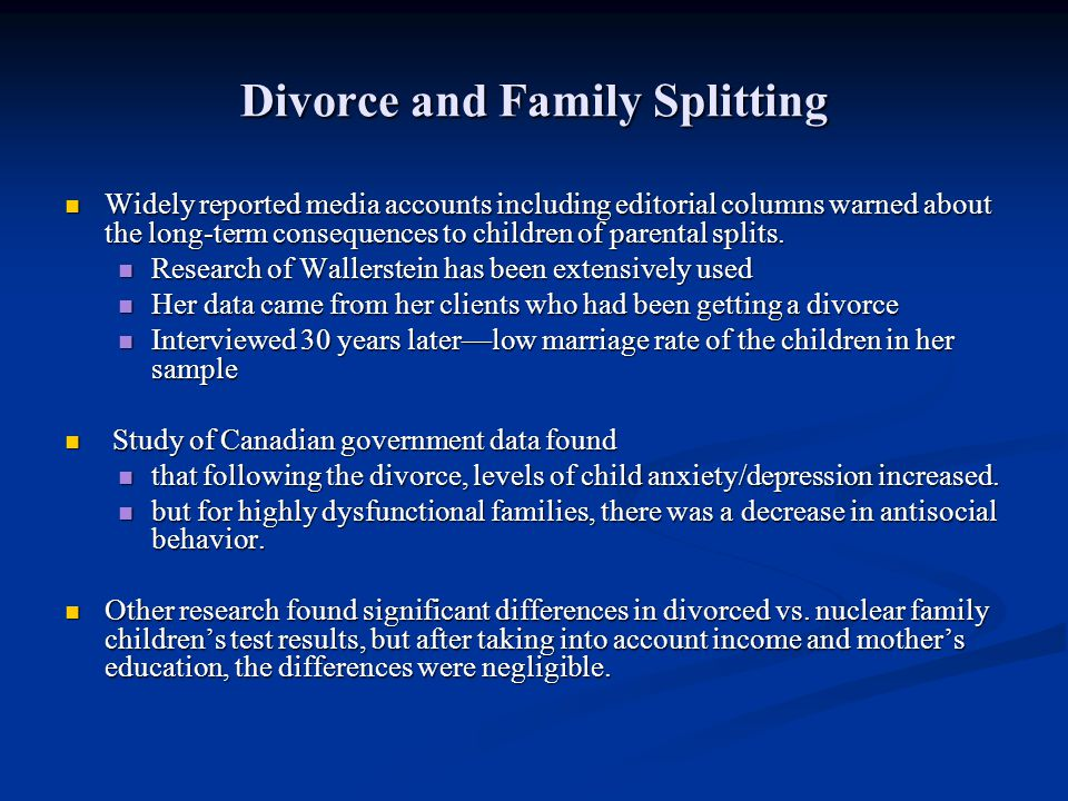 Divorce and Family Splitting