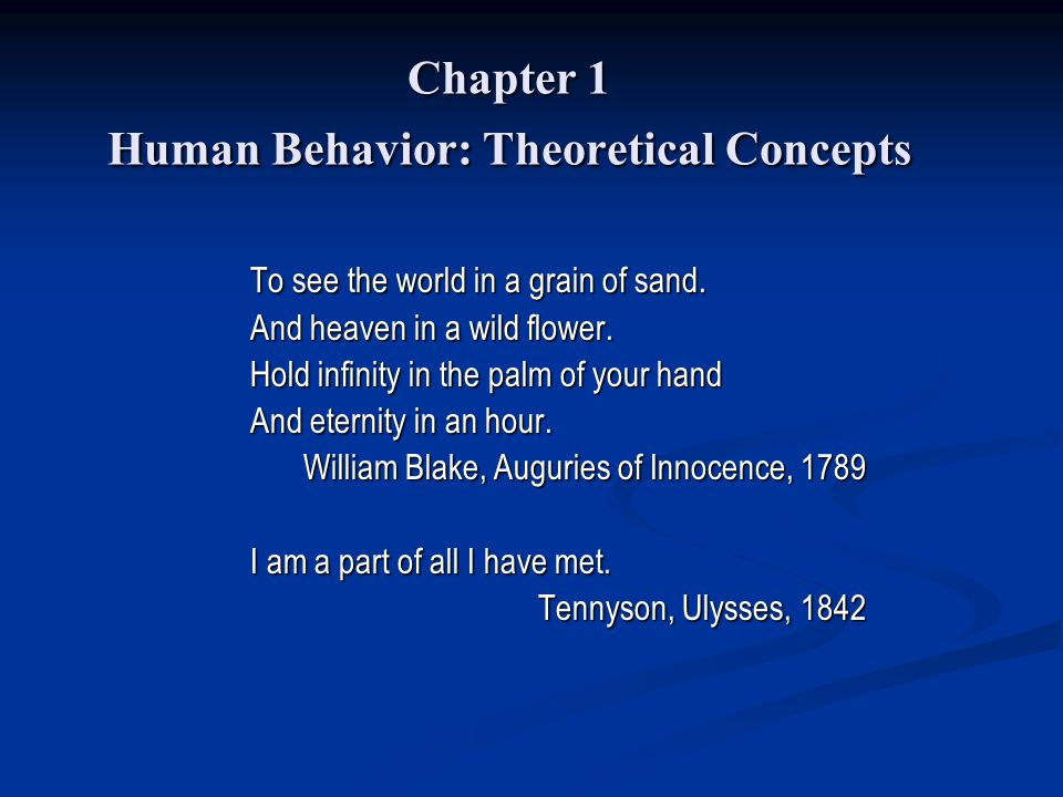 Chapter 1 Human Behavior: Theoretical Concepts