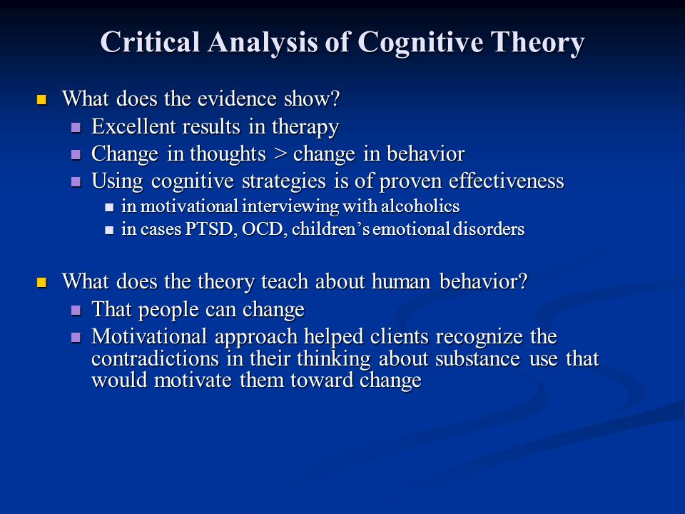 Critical Analysis of Cognitive Theory