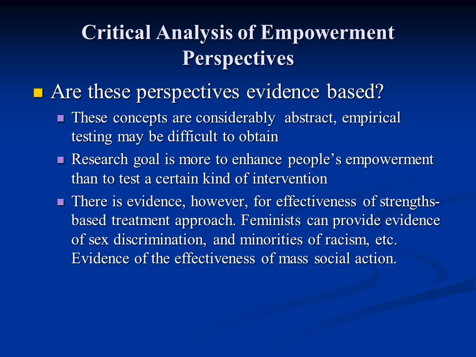 Critical Analysis of Empowerment Perspectives